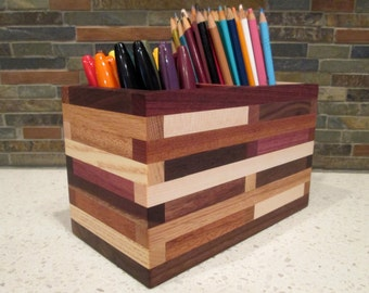 Desk Organizer, Pencil Holder, Desk Caddy, Artist Box, Wood Box, Paint brush holder