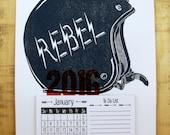 2016 Calendar - Rebel Helmet, Letterpress Printed