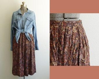 Int. Ladies Garment Workers Union Paisley Rayon Midi Skirt w/ Pockets