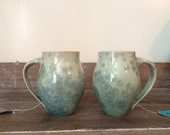 RESERVED: Pair of Aqua Crystalline Mugs for Lisa