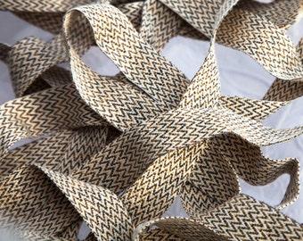 "5 5/8 Yards of Vintage 13/16"" Beautiful Woven Ribbon Trim. Chevron Design. Browns, Ivory, Gold, Cream Tones. Woven Tape Ribbon. Item 3830T"