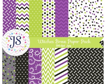 INSTANT DOWNLOAD, halloween digital paper or purple and green backgrounds for commercial use or personal use