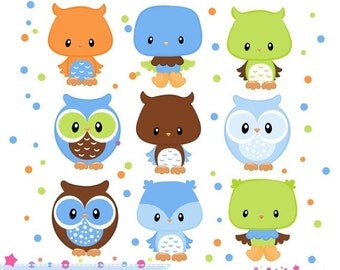 80% OFF - INSTANT DOWNLOAD,  boys owl clipart for personal and commercial use