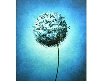 Blue and White Art Print, White Floral Art Photo Print, Contemporary White Flower, Blue Wall Art, Abstract Art, Classic Colors, Mid Century