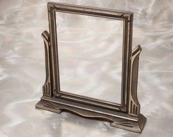 Stunning Art Deco Swing Frame - Warm Silver Tone Wood Finish - 7 x 9 Photo Size - Vintage 1940's