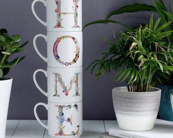 Personalized Botanical Stacking Mugs, Housewarming Gift Set