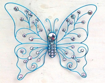 Large Crystal Jeweled Turquoise Butterfly / Turquoise/Aqua Metal Wall Decor