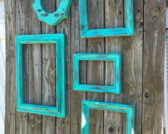 Turquoise Open Wood Frame Gallery - Turquoise Green Empty Frame Wall Decor - Set of 5 Vintage Wooden Frames