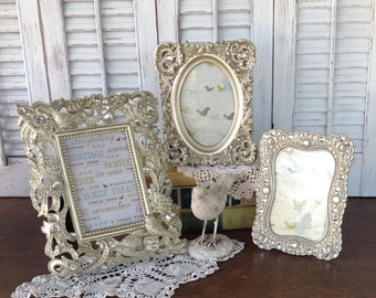 Birds & Bling Champagne Gold Frames 4x6 - Set of 3 Eclectic Picture Frames - Table Top Easel Back