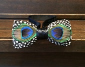 Peacock And Guinea Feather Bow Tie