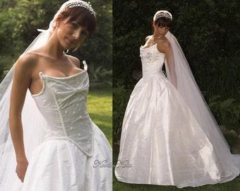 Rococo Inspired Elegant Non Tradicional Silk Wedding Gown - Nausicaa