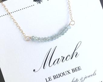 March Birthstone Aquamarine Bar Gemstone Necklace, Birthday, Something Blue, Bridesmaid, Gift, Gold, Silver