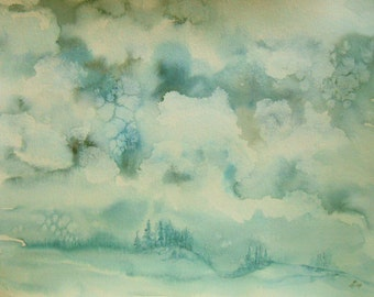 """ORIGINAL watercolor painting, NOT a print. """"Winter's Coming"""""""