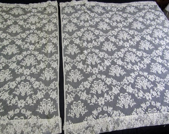 """2 Pair (Four) Vintage Ivory Lace Curtains  2 @ 48""""w x 51""""l  and 2 @ 49""""w x 37""""l"""