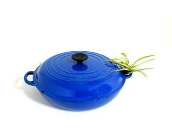 Vintage LE CREUSET Blue #30 France Cast Iron Enamel Dutch Oven