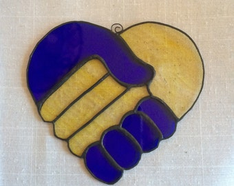 Stained Glass Heart, Celebrate Diversity and Inclusion, Sun Catcher Handshake, Blue and Yellow Heart