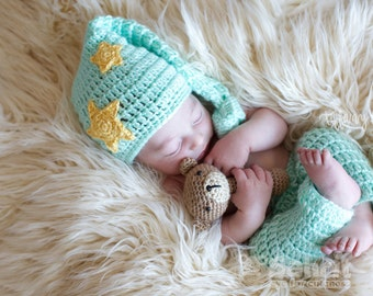Instant Download PATTERN Newborn SET Sleepy Baby Moon and Stars Outfit Plus Rattle Crochet Photo Prop