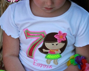 Hula Birthday, Hula Shirt, Luau Shirt, Luau Birthday,  Hawaiian Birthday, Hawaiian Birthday Shirt, Hula Girl, Hula Girl Shirt