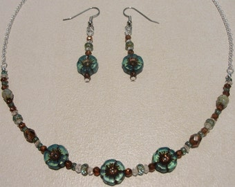 Hibiscus Flower Czech Glass Necklace with Czech Glass Beads.