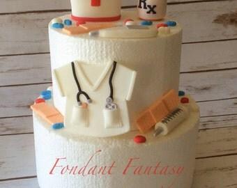 Fondant Nurse themed Cake Decorations