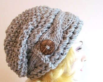 SALE Slouchy Beanie Slouch Cable Hats Oversized Baggy Beret Button womens fall winter accessory Smoky Grey Super Chunky Hand Made Knit