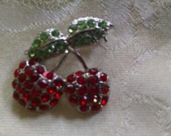 Rhinestone Cherry Pin