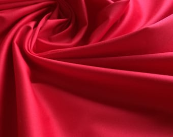 Plain Red cotton stretch sateen fabric - Ideal for tailoring - Sold by the metre - UK SELLER