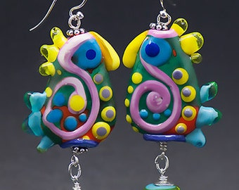 The original *Crazy Chicken* -  lampwork Earrings including Sterling Silver - Glass Art by Michou P.Anderson