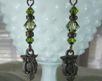 Bronze owl earrings with swarovski crystal