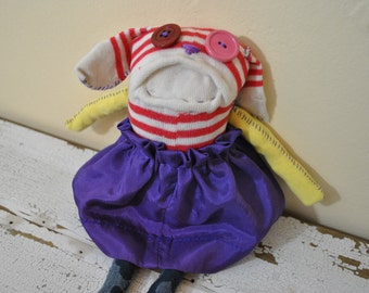 Puppy with Purple Skirt Sock Animal Rag Doll, Made with all reclaimed clothing, OOAK, unique and quirky, hipster plush toy, fabric toy