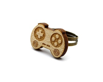 Controller ring - adjustable ring - geek jewelry - joystick - video game accessory - lasercut maple wooden ring - graphic jewellery