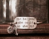 She Believed She Could So She Did Inspirational Bracelet Personalized Arrow Jewelry Motivational Jewelry Graduation Gift Quote Jewelry
