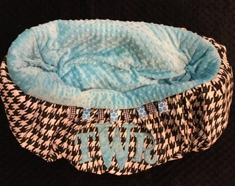 Houndstooth Monogrammed Shopping Cart cover or Highchair Cover