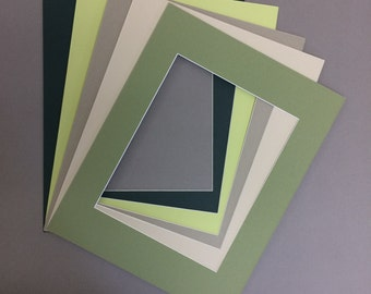Package of 10 11x14 Picture Mats with White Core 5 Green Colors Bevel Cut for 8x10  Pictures