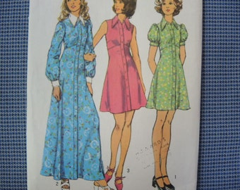 vintage 1970s simplicity sewing pattern 5554 misses dress in two lengths size 10