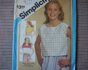 vintage 1980s Simplicity sewing pattern 6471 girls pullover top in three lengths size 7 & 8