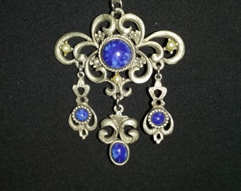 Vintage Coro silver and lapis necklace