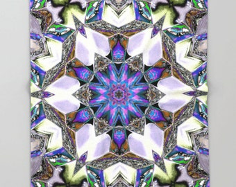 Fleece Throw Blanket, Far Out Kaleidoscope, Throw Blanket, Photo Throw Blanket, Home Decor, Sherpa Throw, Photography, Digital Art