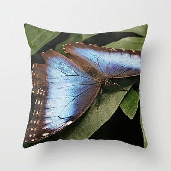 Blue Morpho Butterfly Throw Pillow, Throw Pillow,Pillow, Nature, Photography, Butterflies, Housewarming Gift, Home Decor, Pillow Cover, Gift