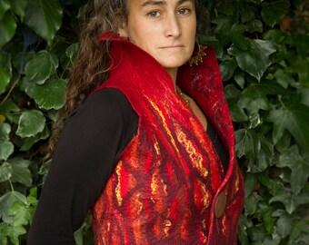 nuno felt waistcoat, red flame felt vest