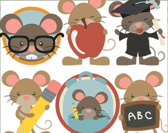 School Mouse Clip Art -Personal and Limited Commercial Use- back to school, gradutaion, teacher appreciation clipart