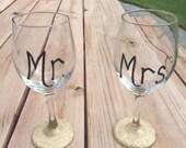 Mr and Mrs Glitter Wine Glasses