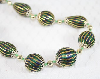 Green Gold Fabric Bead Necklace Unusual Vintage 1950s