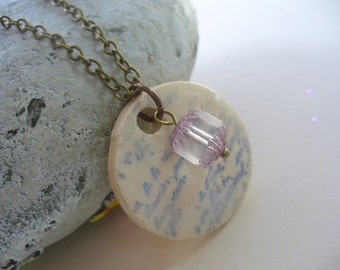 Ceramic Pendent Necklace, Shabby Chic, Ice Blue and Lavender, Cursive Script, Antiqued Brass, Pendant Necklace, Fashion Jewelry