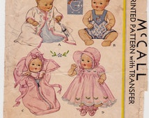 1930's McCall 513 ORIGINAL Baby Clothes Pattern for 15 Inch DY DEE Dolls Complete Partially Cut