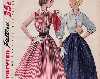 """FF 50s Misses' Full Skirt and Tailored Blouse Vintage Sewing Pattern - Simplicity 3857 - Size 16, Bust 34"""", UNCUT"""