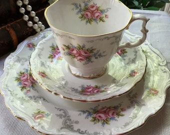 Royal Albert Tranquility Trio made in England Fine Bone China 8 inch Plate Gainsborough Shape 1960s