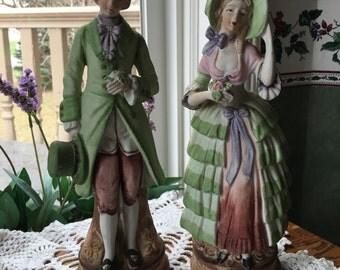 Occupied  Japan  Porcelain Bisque Colonial Couple Figurine Set