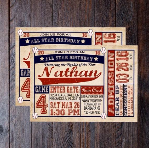 Vintage Baseball Birthday Invitations: Vintage Baseball Birthday Invitation By HandmadeSmilesDesign