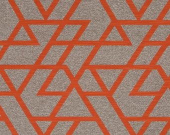 Orange Geometric Upholstery Fabric Taupe Home Decor Fabrics Modern Tangerine Upholstery Fabric Custom